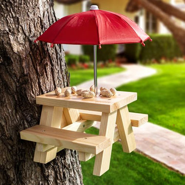 DIY Mounted Squirrel Feeder Picnic Table on Tree
