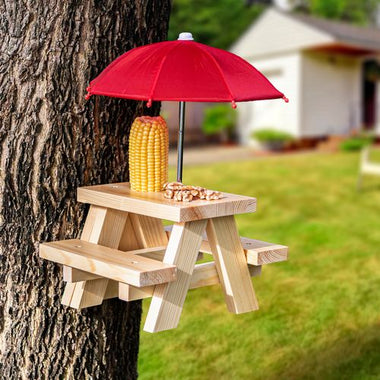 Mounted Squirrel Feeder Picnic Table with Umbrella and Corn Cob