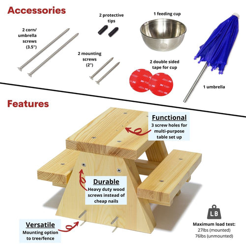 Squirrel Feeder Picnic Table Product Specification