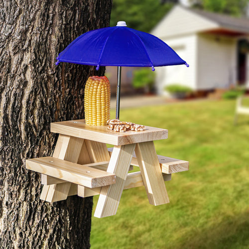DIY Mounted Squirrel Feeder Picnic Table with Umbrella Hanged on Tree