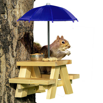 DIY Mounted Squirrel Feeder Picnic Table with Red Umbrella