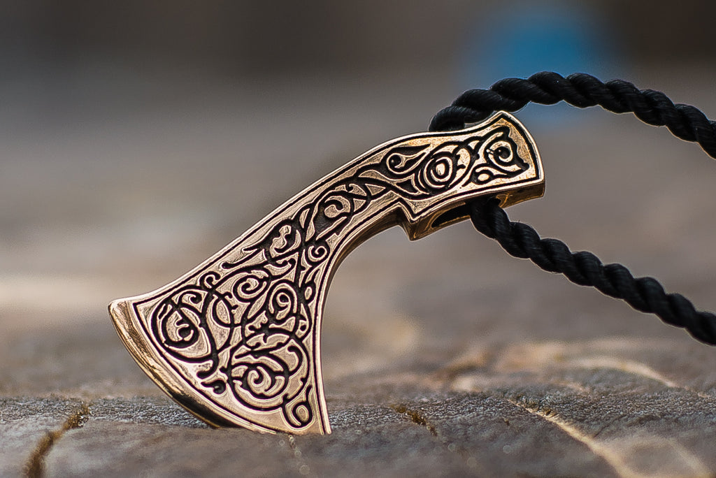 Perun's Axe Bronze Pendant with Ornament Reconstruction - Viking-Handmade
