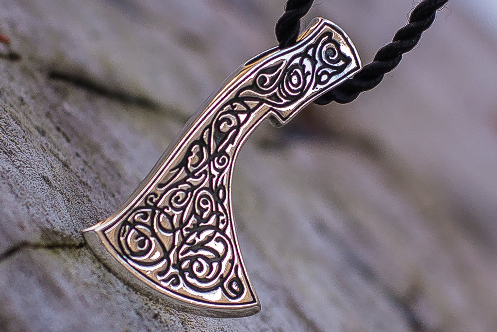 Perun's Axe Sterling Silver Pendant with Beautiful Ornament - Viking-Handmade