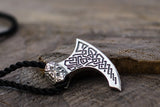 Viking Axe Sterling Silver Pendant with Beautiful Ornament - Viking-Handmade