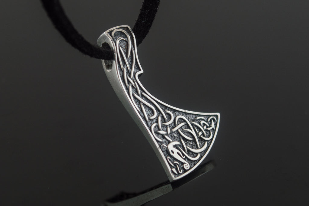 Viking Axe Pendant Urnes Style Sterling Silver Norse Jewelry - Viking-Handmade