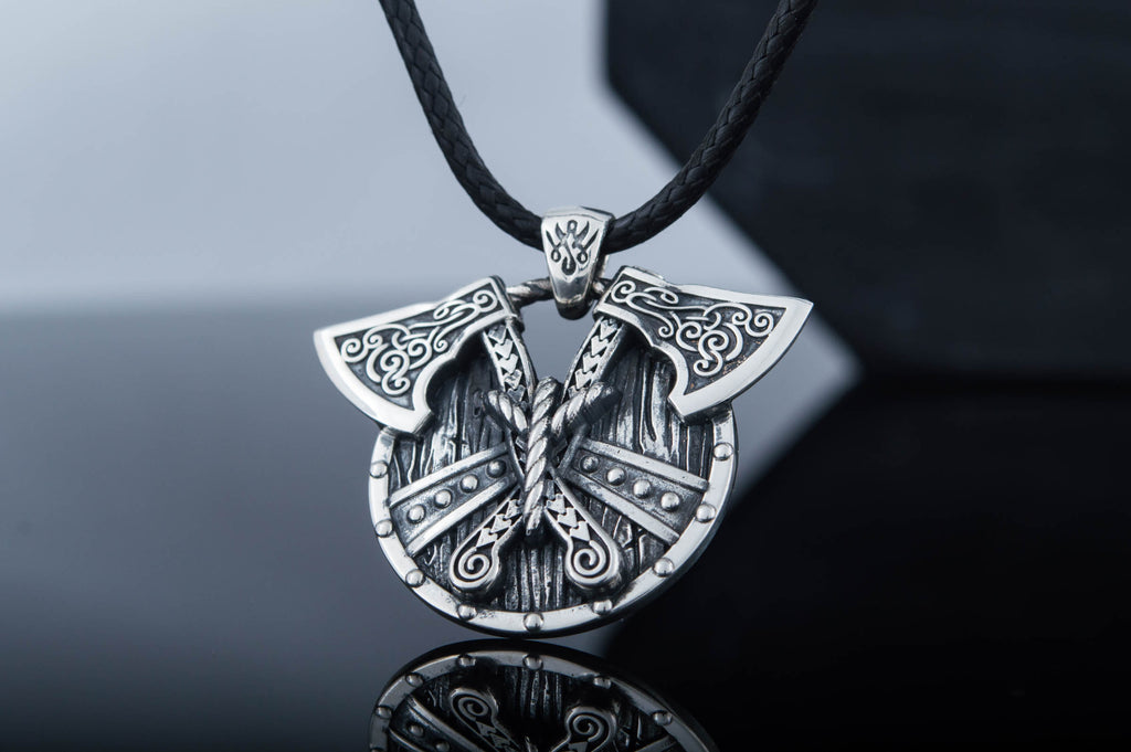 Norse Shield with Axes Pendant Sterling Silver Viking Jewelry - Viking-Handmade