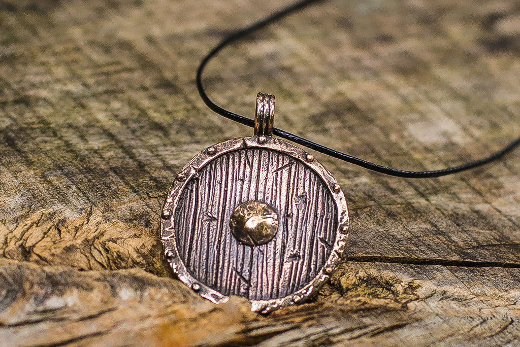 Old Viking Shield Bronze Norse Pendant - Viking-Handmade