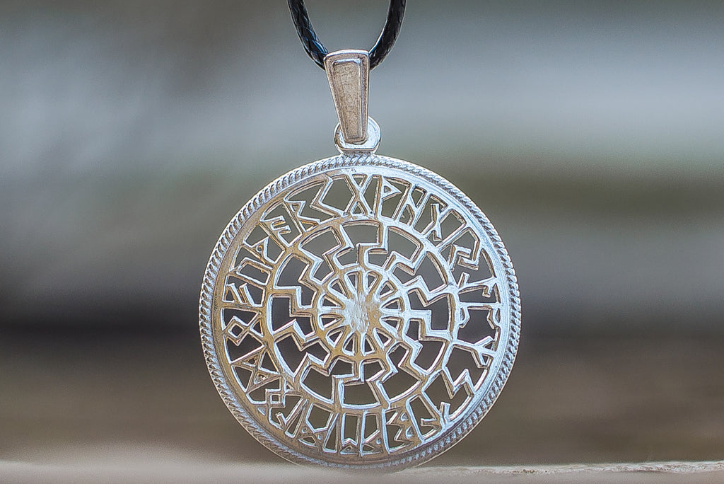Black Sun Symbol with Runic Calendar Sterling Silver Pendant - Viking-Handmade