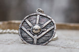 Lagertha's Shield Pendant Unique Sterling Silver Viking Necklace - Viking-Handmade
