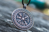 Vegvisir Symbol with Viking Ornament Pendant Sterling Silver Pagan Jewelry - Viking-Handmade