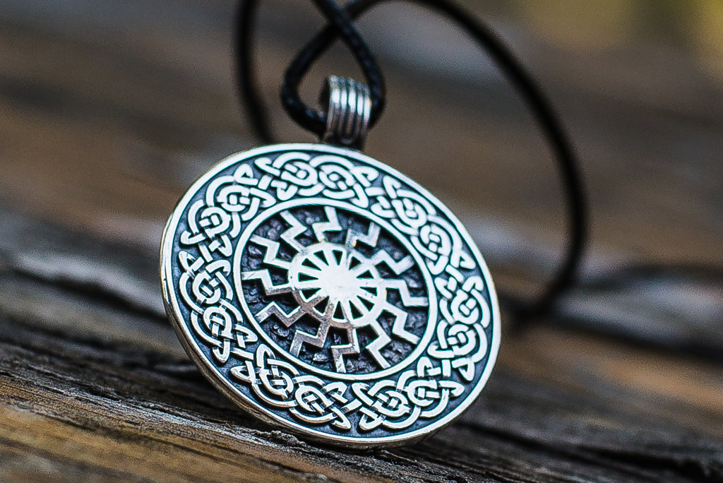 Black Sun with Viking Ornament Pendant Sterling Silver Viking Jewelry - Viking-Handmade