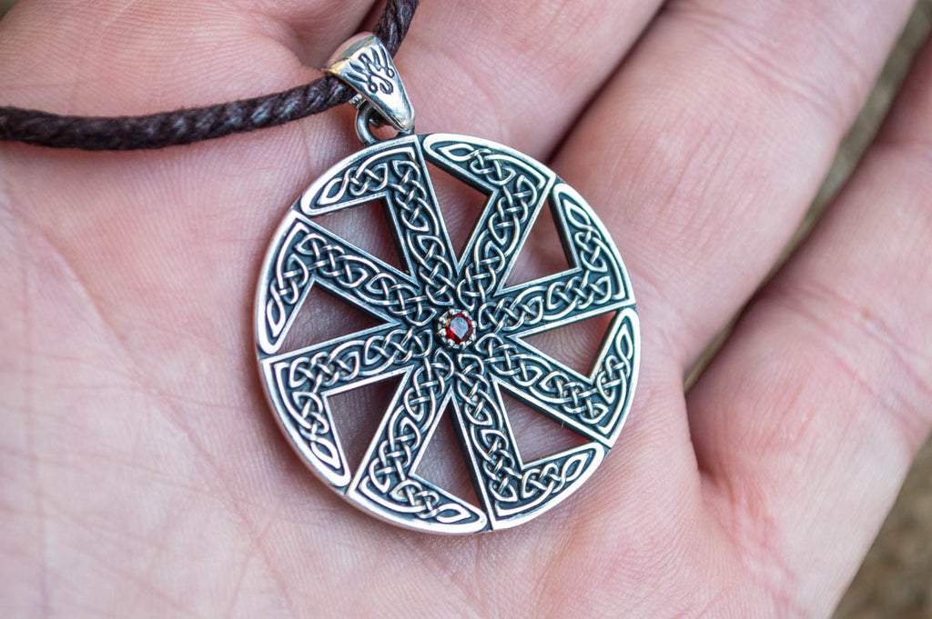 Kolovrat Symbol with Pagan Ornament Sterling Silver Pendant - Viking-Handmade