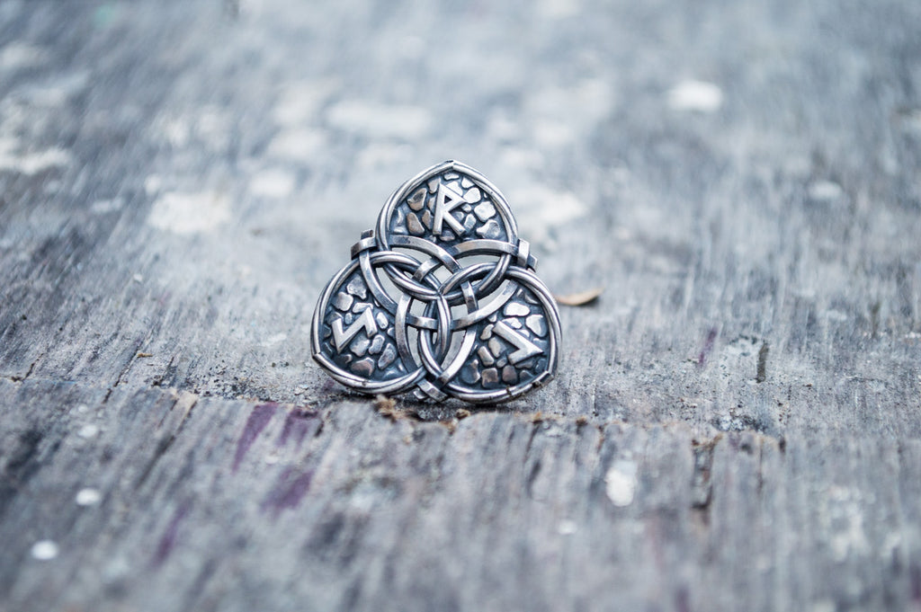 Triquetra Symbol with Runes Sterling Silver Celtic Pendant - Viking-Handmade