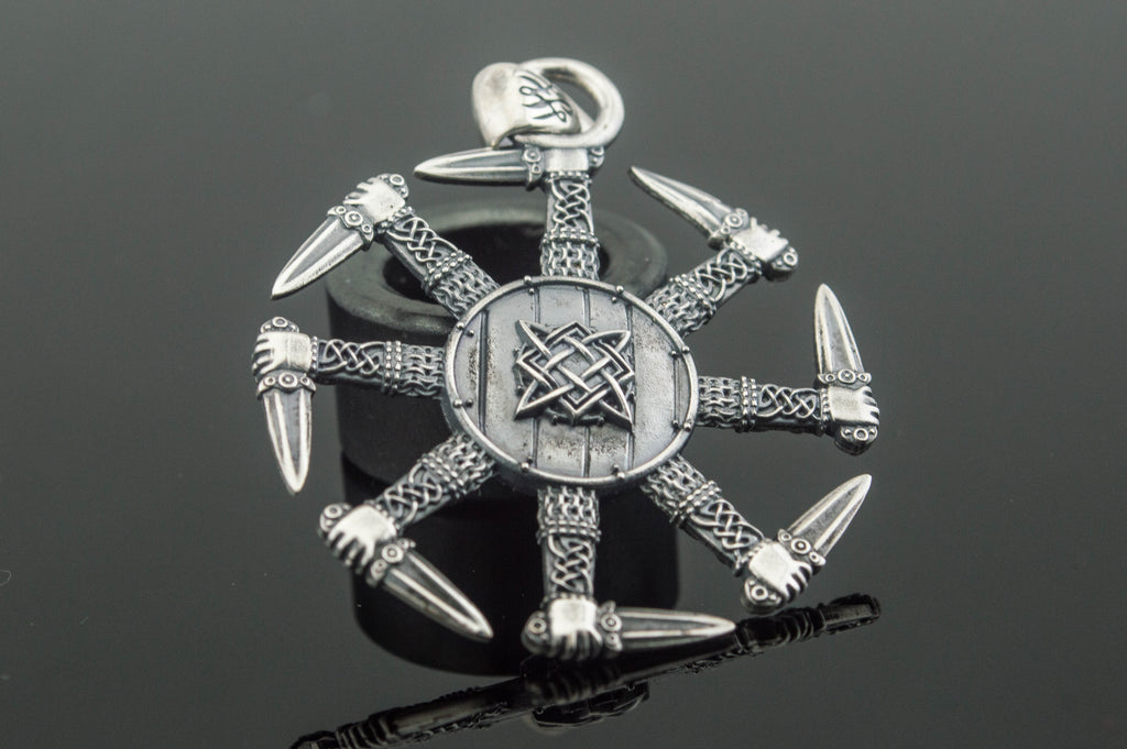 Kolovrat Pendant with Pagan Ornament Sterling Silver Slavic Jewelry - Viking-Handmade