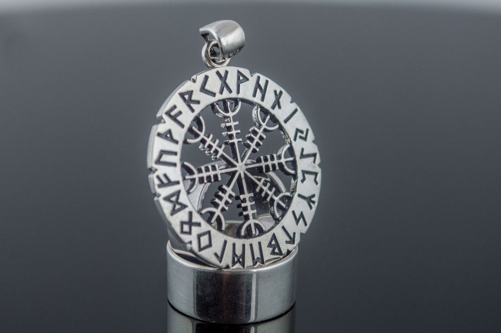Helm of Awe Symbol with Elder Futhark Runes Sterling Silver Pendant - Viking-Handmade