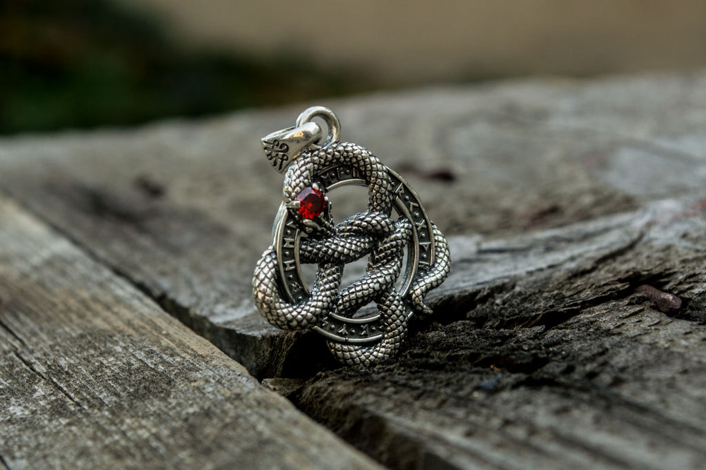 Snake Pendant with Runes and Red Cubic Zirconia Sterling Silver - Viking-Handmade