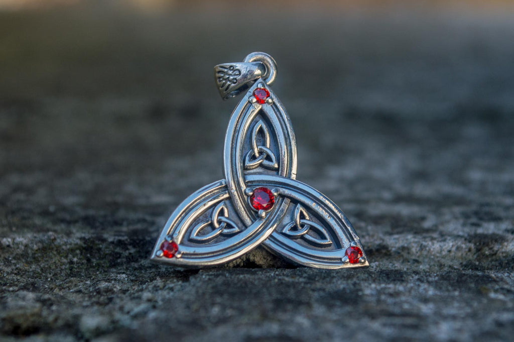 Triquetra Symbol Pendant with Red Cubic Zirconia Sterling Silver - Viking-Handmade