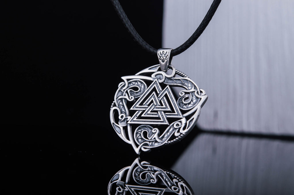 Valknut Symbol Pendant with Ornament Sterling Silver - Viking-Handmade