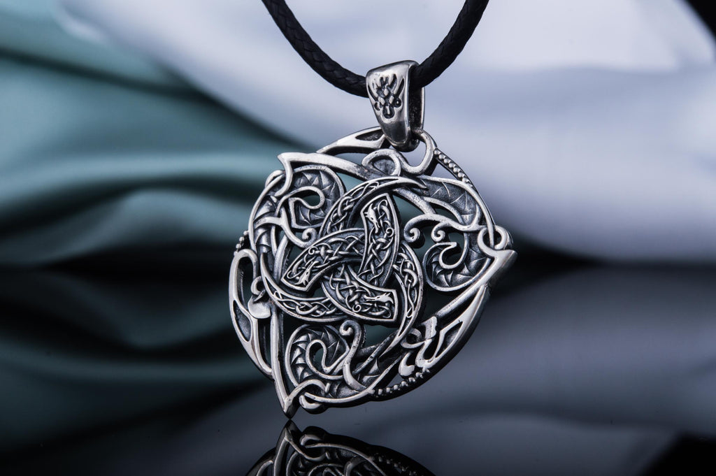 Odin Horn Symbol Pendant with Ornament Sterling Silver - Viking-Handmade