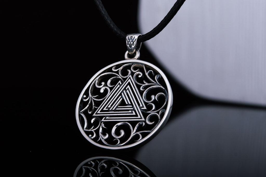 Norse Pendant with Valknut Symbol Sterling Silver - Viking-Handmade