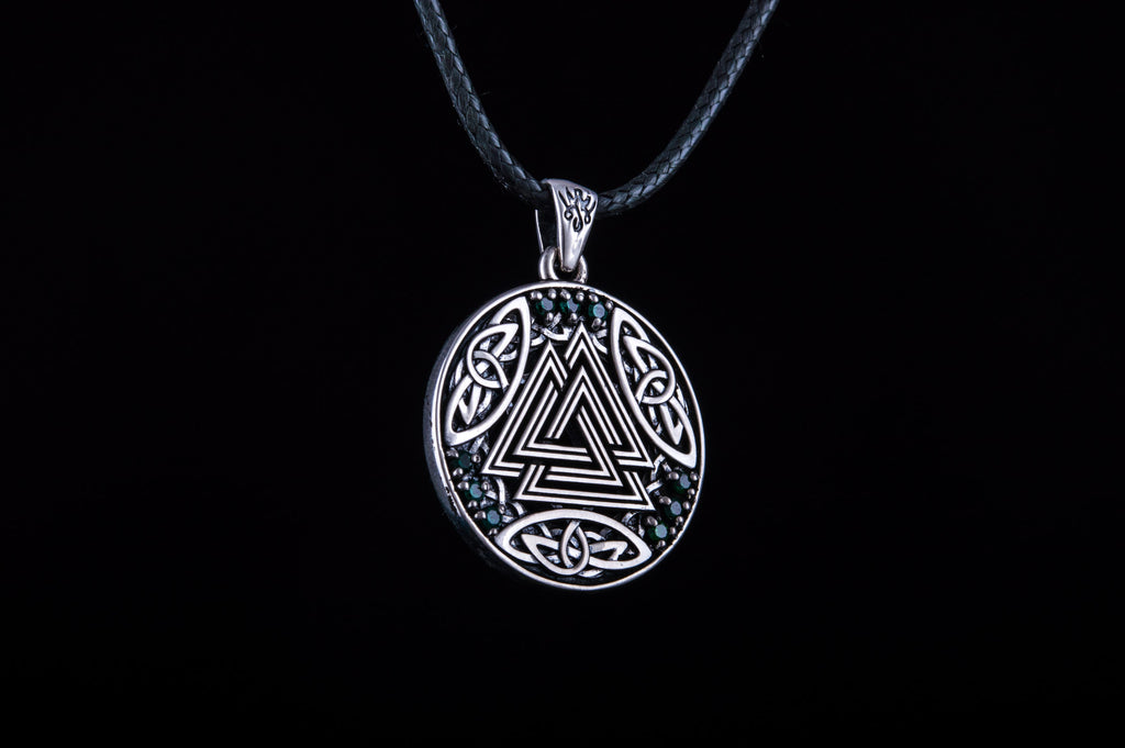 Norse Pendant with Valknut Symbol and Cubic Zirconia Sterling Silver - Viking-Handmade