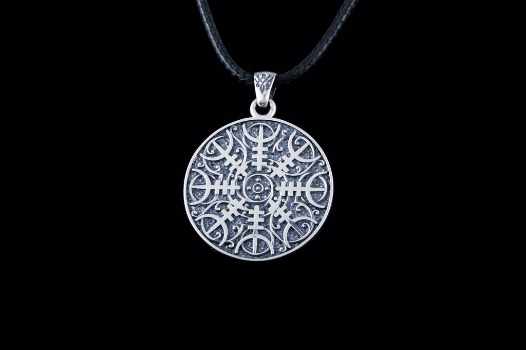 Viking Pendant with Halm of Awe Symbol Sterling Silver Norse Jewelry - Viking-Handmade