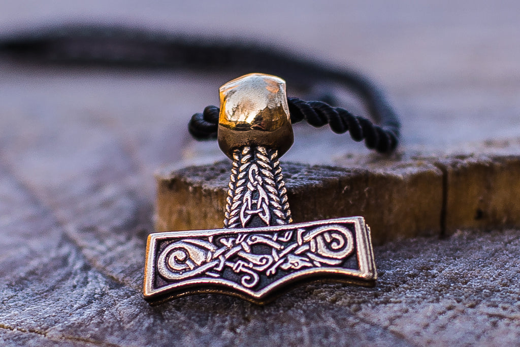 Thor's Hammer Pendant Bronze Mjolnir with Beautiful Ornament - Viking-Handmade
