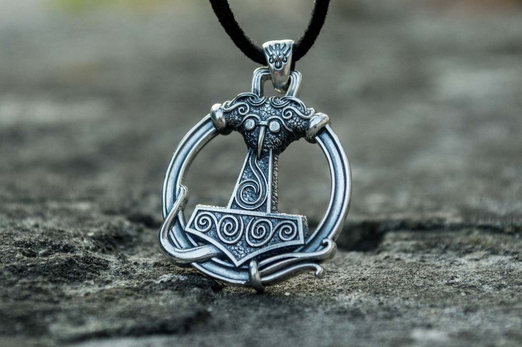 Thors Hammer Pendant with Ornament Sterling Silver Unique Handmade Jewelry - Viking-Handmade