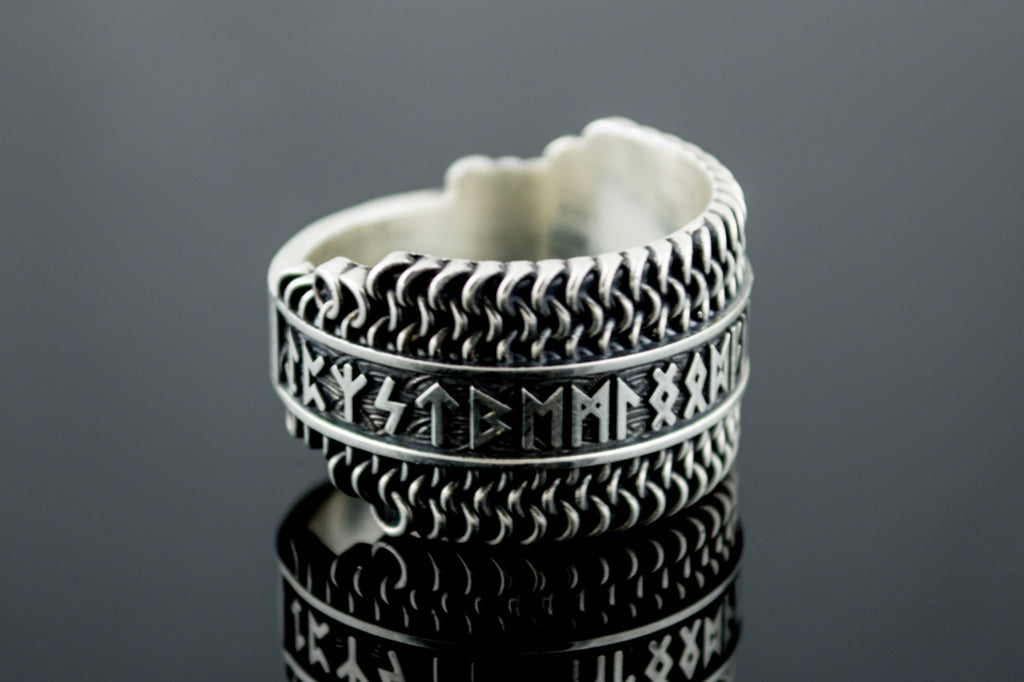 Hauberk Viking Ring with Elder Futhark Runes - Viking-Handmade