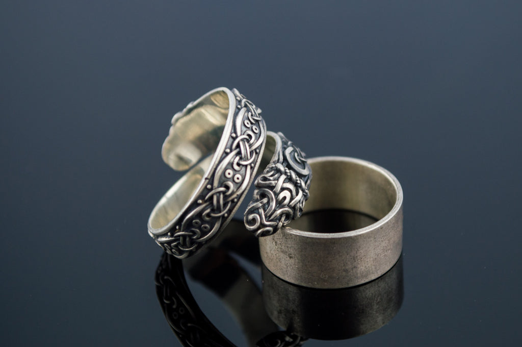 Ouroboros Ring with Viking Ornament - Viking-Handmade