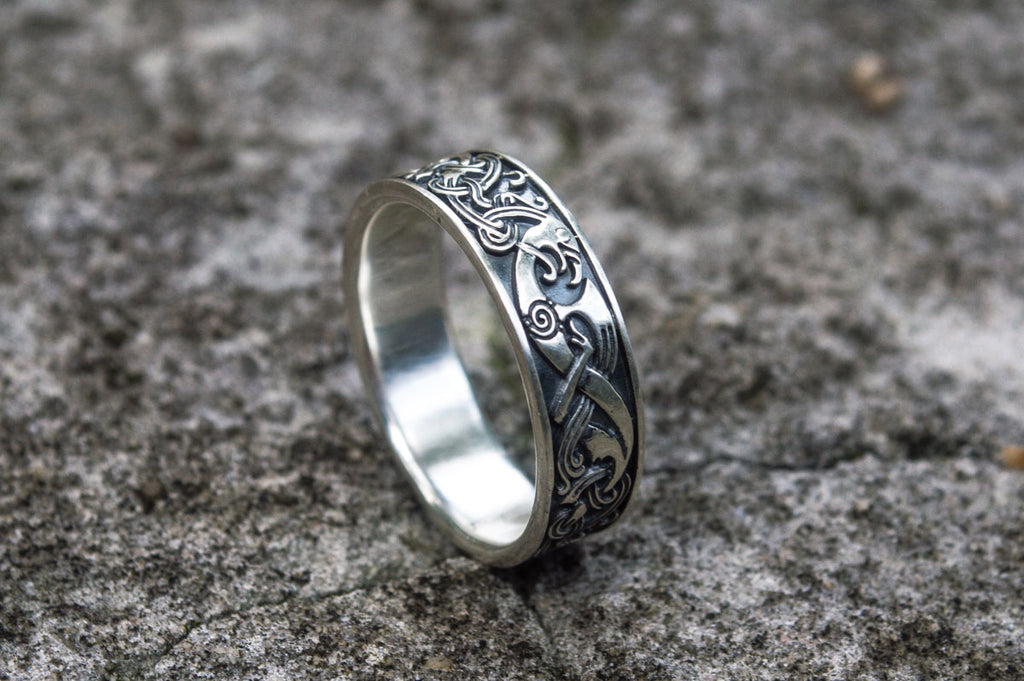 Norse Ornament Ring Sterling Silver - Viking-Handmade