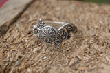 Helm of Awe Symbol and Wolf Ornament Sterling Silver - Viking-Handmade