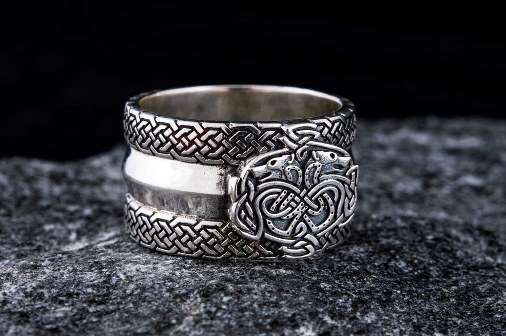 Norse Ornament Ring with Wolves Sterling Silver - Viking-Handmade