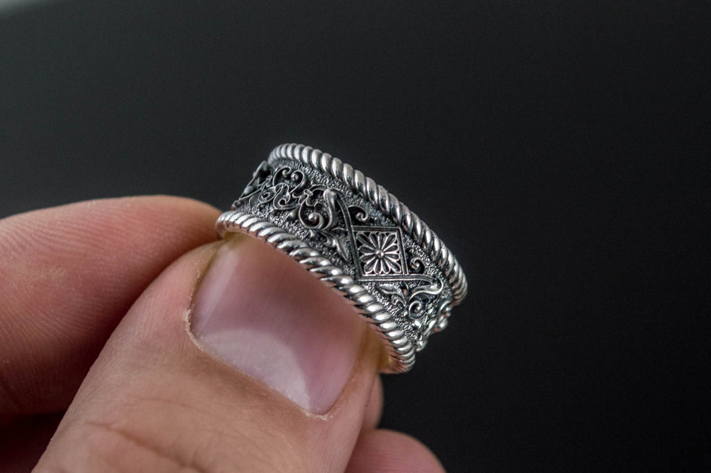 Ornament Ring Sterling Silver - Viking-Handmade