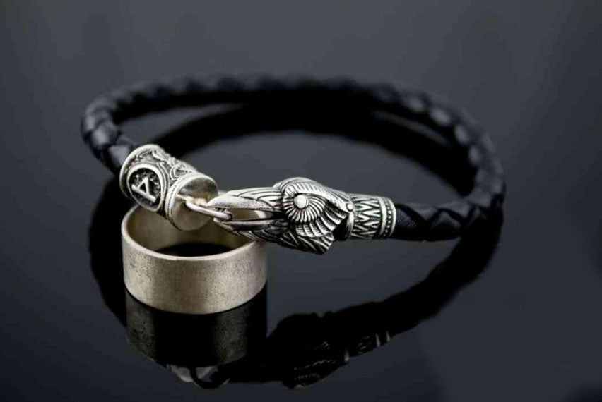 Crow Bracelet with Elder Futhark Rune Sterling Silver Norse Jewelry - Viking-Handmade