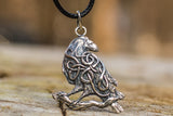 Raven Pendant with Ornament Sterling Silver Norse Amulet - Viking-Handmade