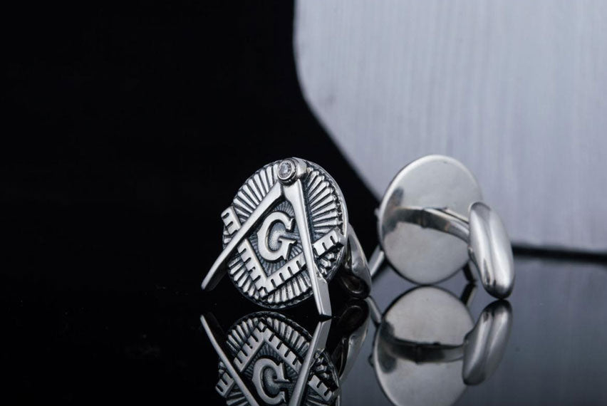 Unique Cufflinks with Masonic Symbol Sterling Silver Jewelry - Viking-Handmade
