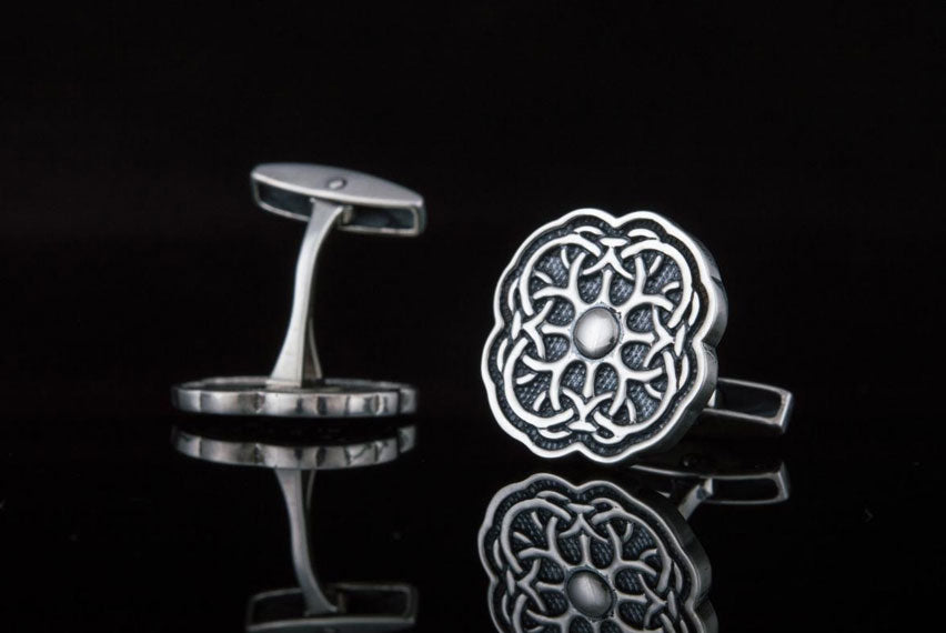Unique Cufflinks with Ornament Sterling Silver Handmade Jewelry V04 - Viking-Handmade