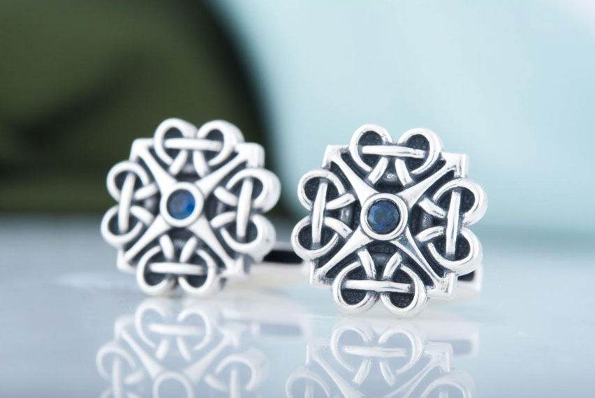 Unique Handmade Cufflinks with Cubic Zirconia Sterling Silver Jewelry - Viking-Handmade