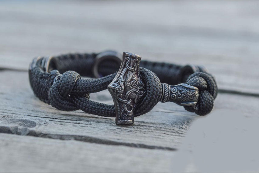 Thors Mjolnir with Runes Sterling Silver Ruthenium Plated Black Paracord Bracelet - Viking-Handmade