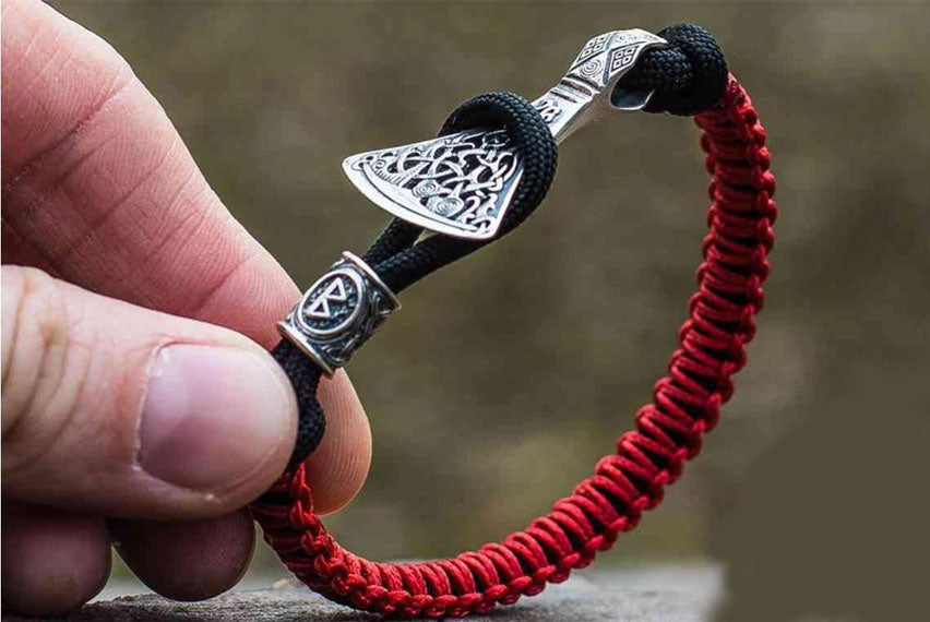 Paracord Bracelet with Sterling Silver Axe and Elder Futhark Rune (Black+Red) - Viking-Handmade