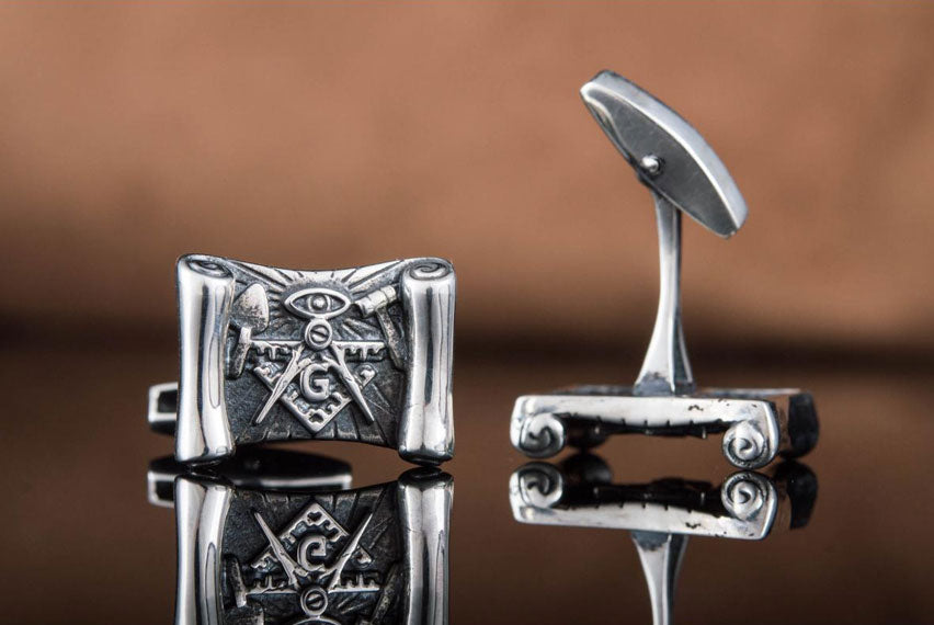 Cufflinks with Masonic Symbols Sterling Silver Handmade Jewelry - Viking-Handmade