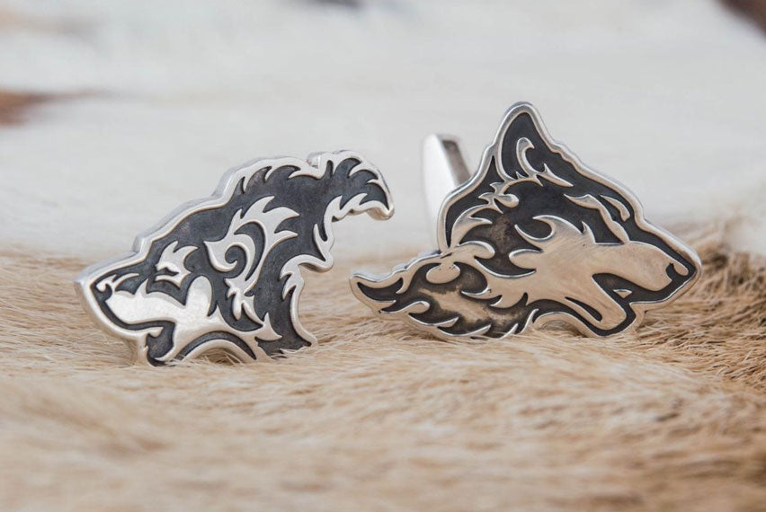 Unique Cufflinks in Wolf Style Sterling Silver Handmade Jewelry - Viking-Handmade