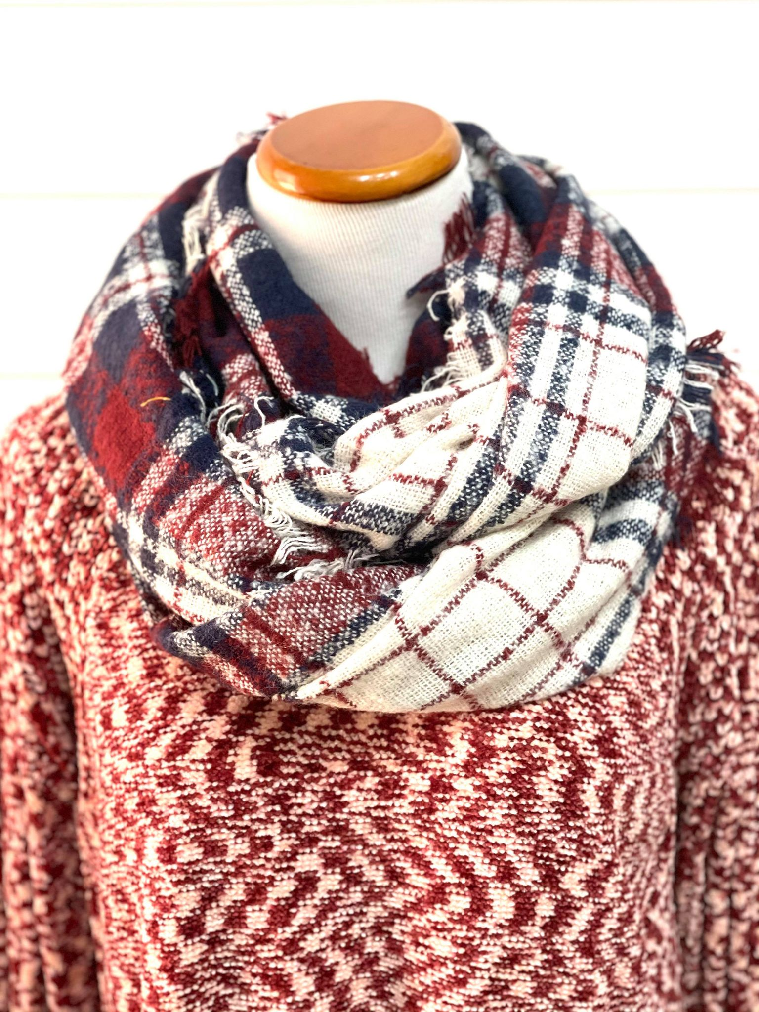 Crimson & Navy Plaid Infinity Scarf