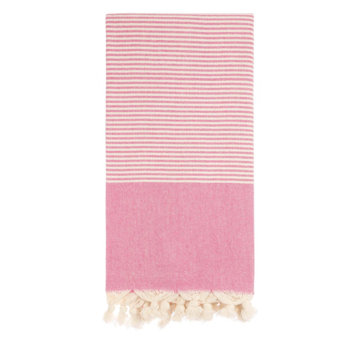 Magenta Stripe Turkish Beach Towel