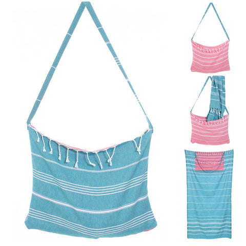 Aqua Convertible Tote Turkish Beach Towel