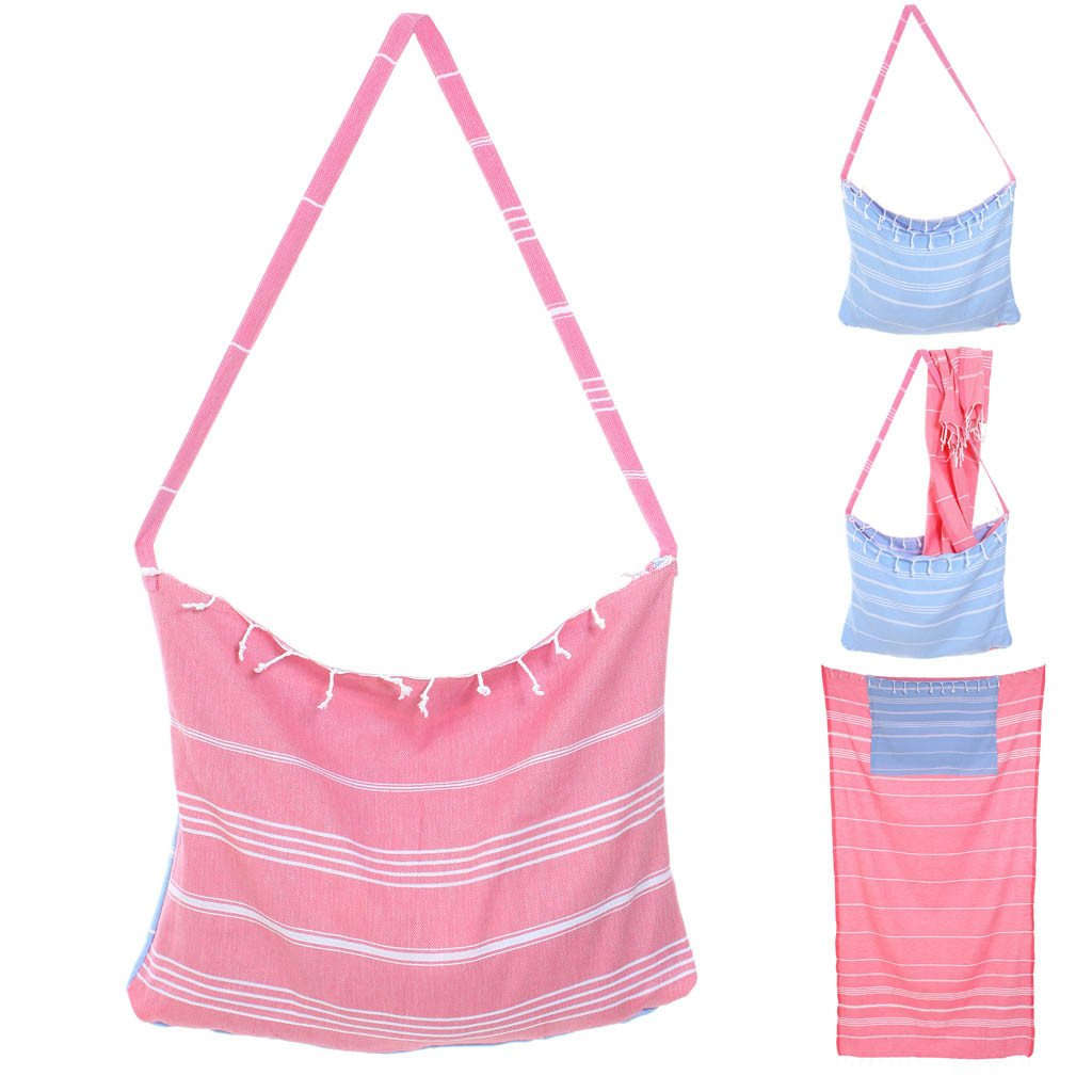 Pink Convertible Tote Turkish Beach Towel