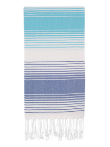 Aqua Blue Stripe Turkish Beach Towel
