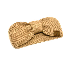 Tan Chevron Knit Knot Head Wrap