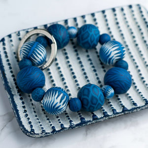 Indigo Beaded Keychain